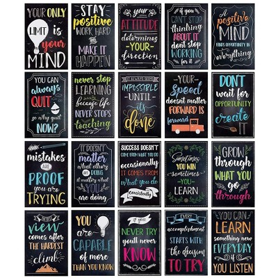 20-Pack Motivational & Inspirational Quotes Posters for Teachers, Classroom & Office, 13 X 19 inches
