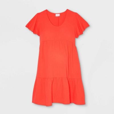Flutter Short Sleeve Tiered Maternity Dress - Isabel Maternity by Ingrid & Isabel™ Red