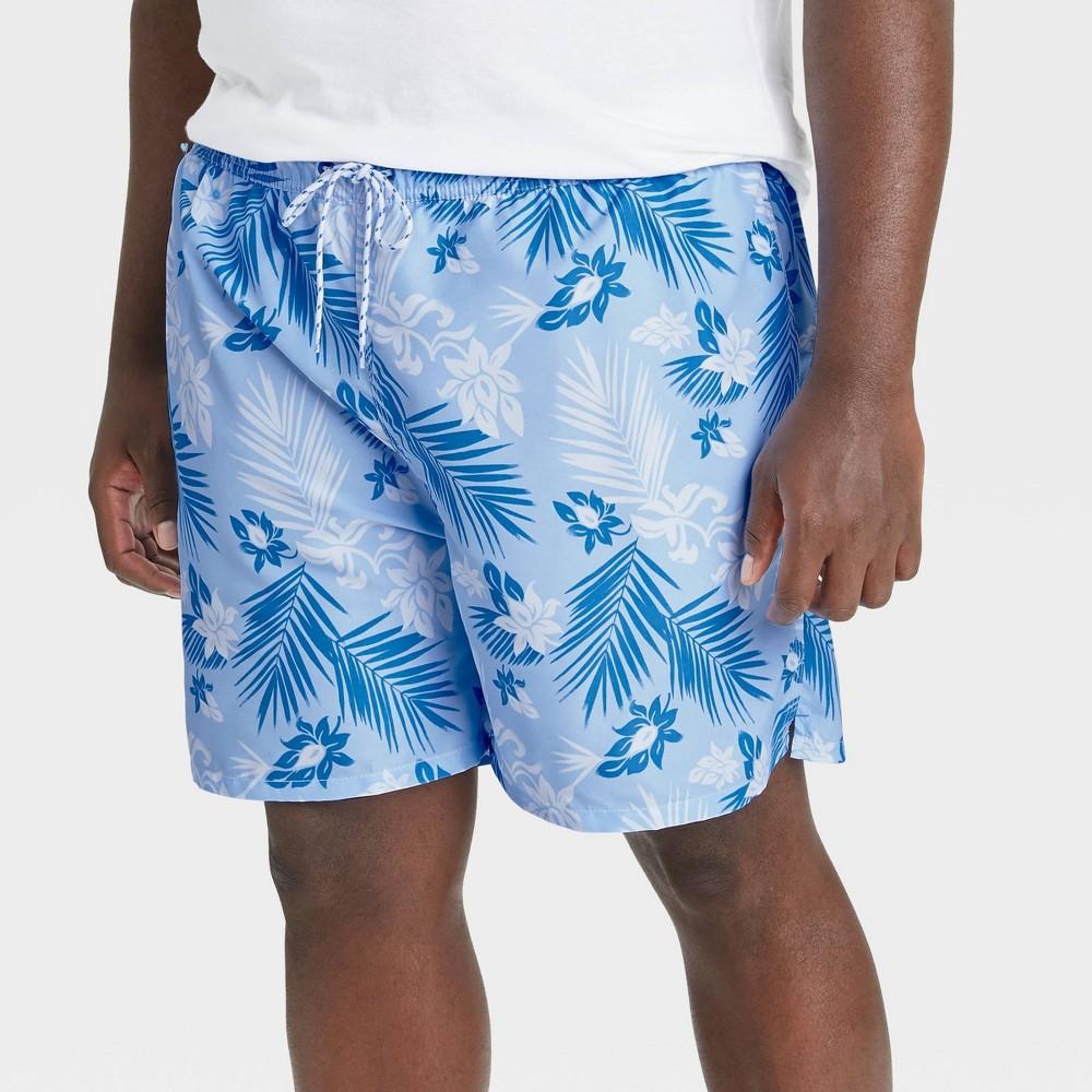 Men 39 S Big 38 Tall 7 34 Regular Fit Floral Print Swim Trunks Goodfellow 38 Co 8482 Blue 3xl