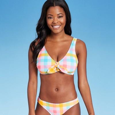 Juniors' Tie-Front Tall Triangle Bikini Top - Xhilaration™ Multi Plaid Print