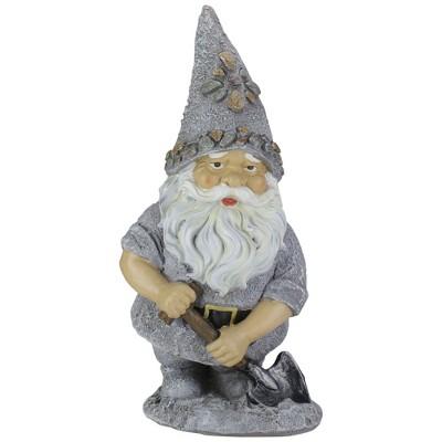 """Roman 13.25"""" Pebble Gnome with Shovel Outdoor Garden Statue"""