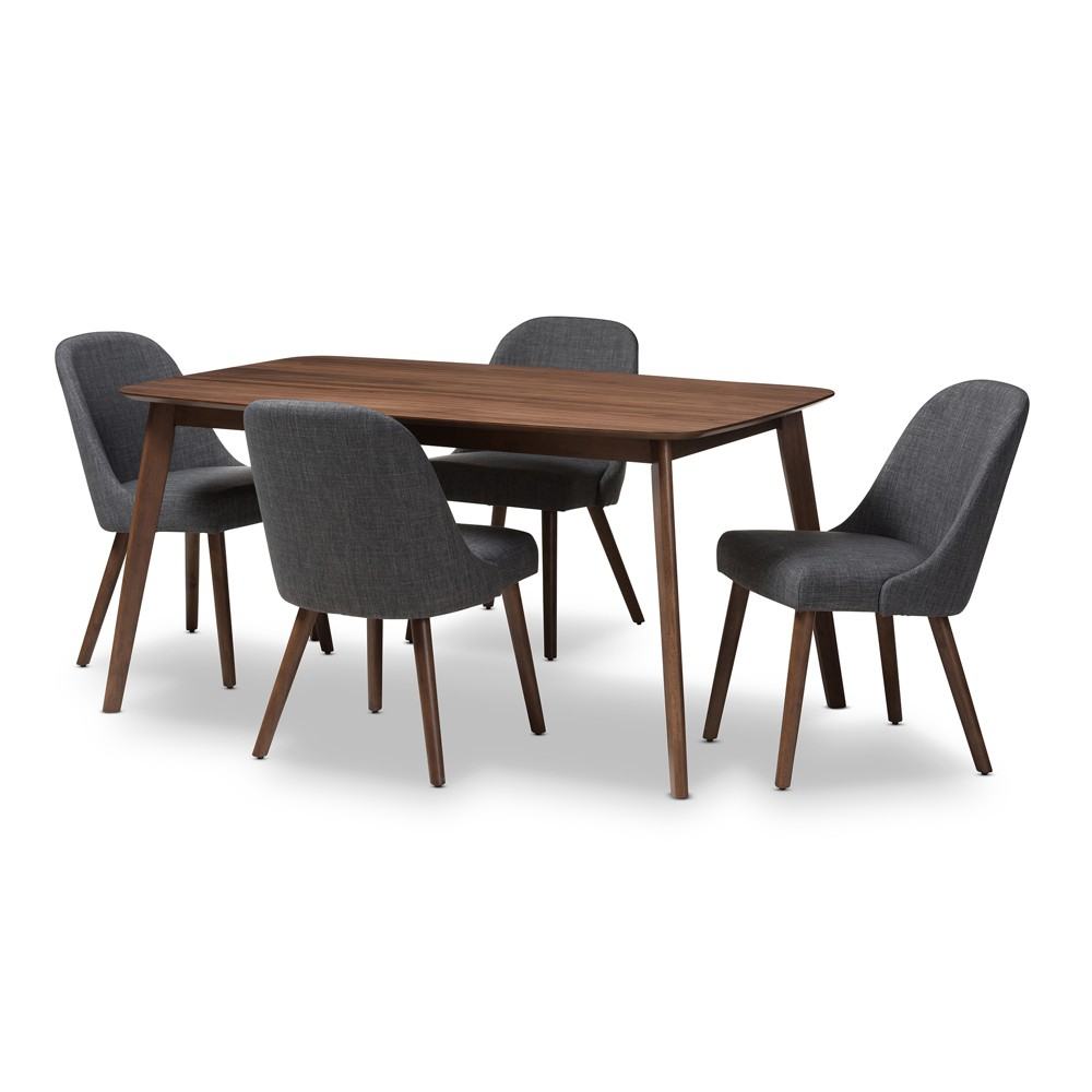 Baxton Studio 5pc Cody Mid Century Modern Walnut Finished Wood Fabric Upholstered Dining Set Dark Gray, Brown Gray