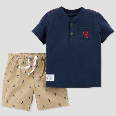 Baby Boys' 2pc Lobster Henley and Shorts Set - Just One You® made by carter's Navy/Khaki 3M