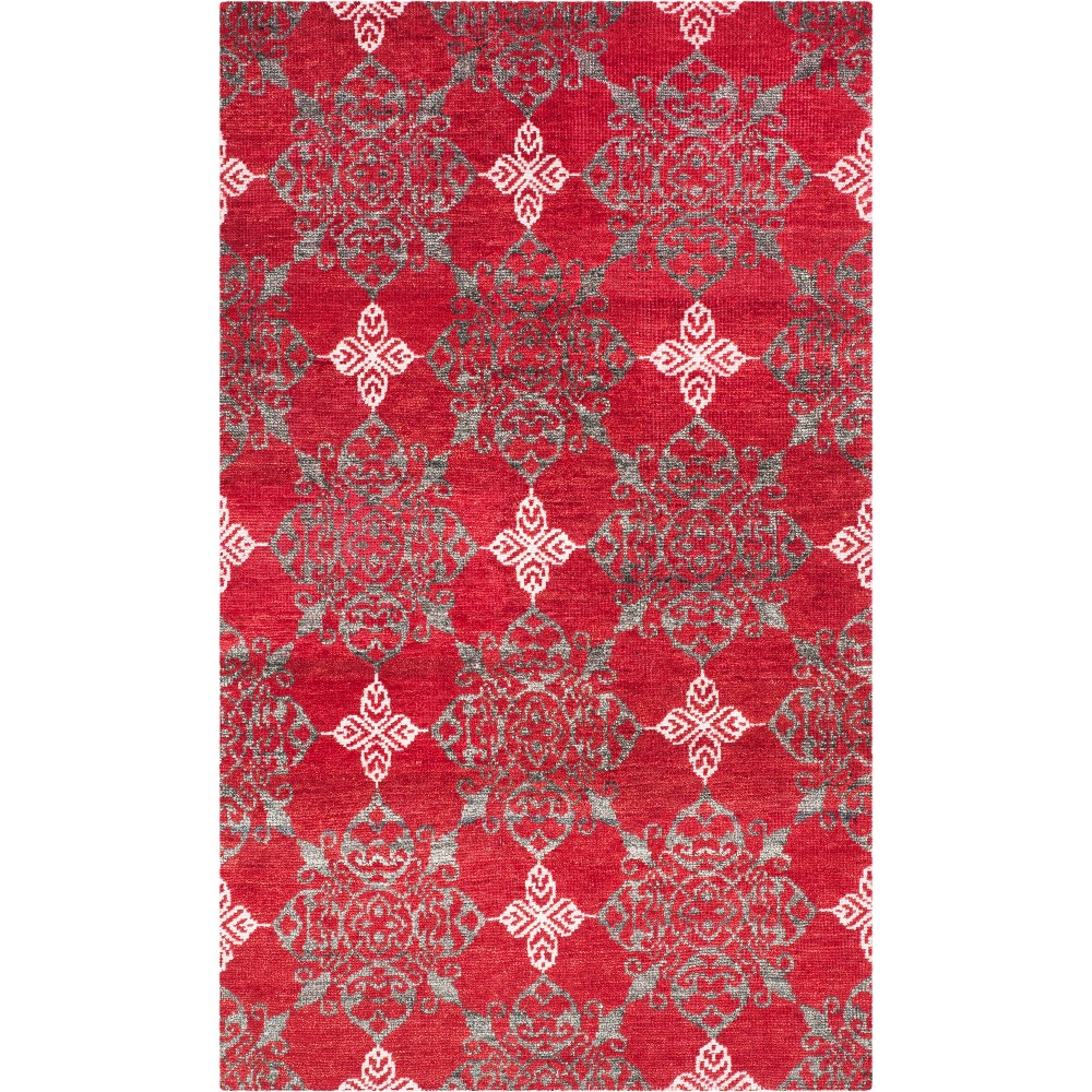 5'X8' Medallion Knotted Area Rug Red/Ivory - Safavieh