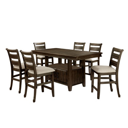 7pc Skarvos Counter Height Dining Set Light Walnut - HOMES: Inside + Out - image 1 of 4