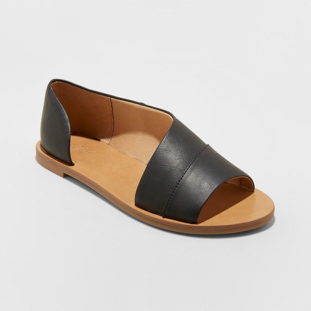 Women's Lissa Wide Width Asymmetrical Slide Sandals - Universal Thread Black 12W, Size: 12Wide