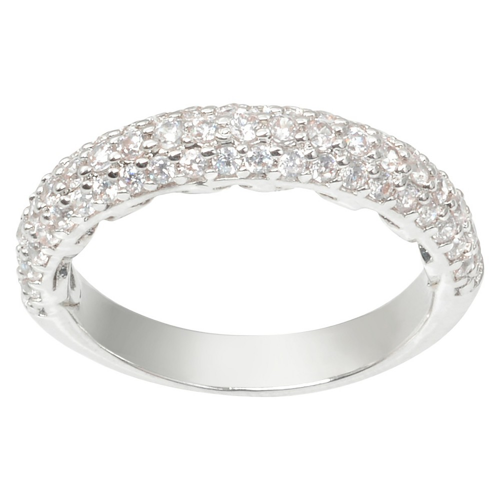 5/8 CT. T.W. Journee Collection Round Cut CZ Pave Set Elegant Ring in Brass - Silver (9)