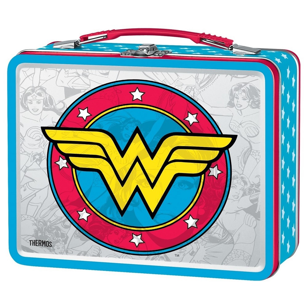 Thermos Metal Wonder Woman Lunch Box, Red The metal lunch kit designed with a vintage-look from Genuine Thermos Brand features high quality, bright glossy graphics. Molded out of tin, this lunch kit has a hinged lid, plastic handle and metal latch to keep the lid closed. Materials are 100 percent PVC free. Color: Red. Pattern: Product logo.
