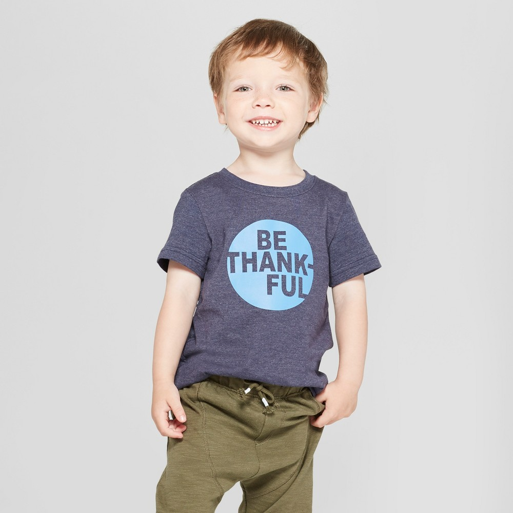 Toddler Boys' Be Thankful Graphic Short Sleeve T-Shirt - Cat & Jack Navy 12M, Blue