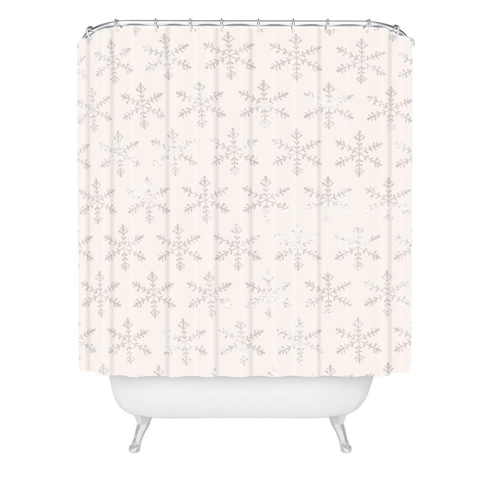 Georgiana Paraschiv Snowflake Christmas Shower Curtain Beige Deny Designs