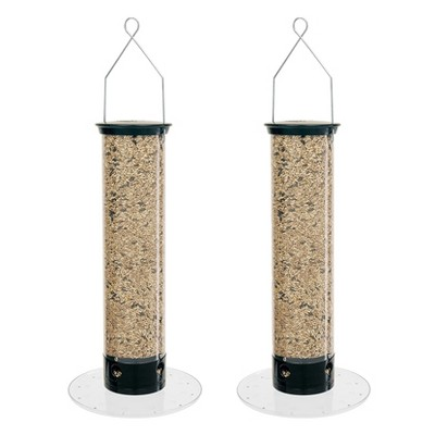Droll Yankees 5 Pound Capacity Yankee Tipper Squirrel Proof Bird Feeder with Weight Sensitive Tray for Ground Feeding Birds, Black (2 Pack)