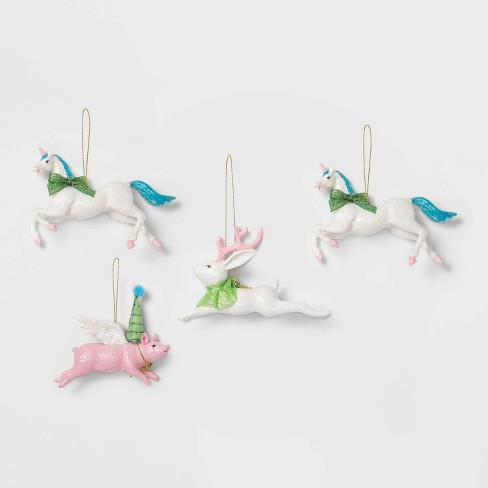 4ct Glitter Animals with Antlers and Party Hats Christmas Ornament Set - Wondershop™ - image 1 of 2