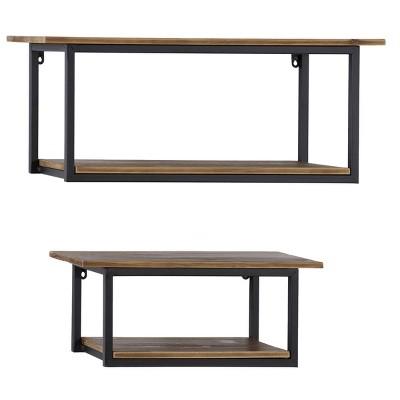 "(Set of 2) 28"" x 20"" Rectangular Wood and Metal 2 Tier Wall Shelf Black - Olivia & May"