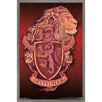 Trends International The Wizarding World: Harry Potter - Gryffindor Lion Crest Framed Wall Poster Prints