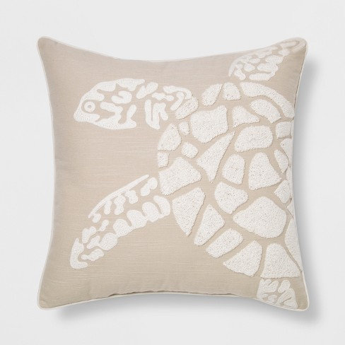 Embroidered Sea Turtle Square Throw Pillow Neutral - Threshold™ - image 1 of 2