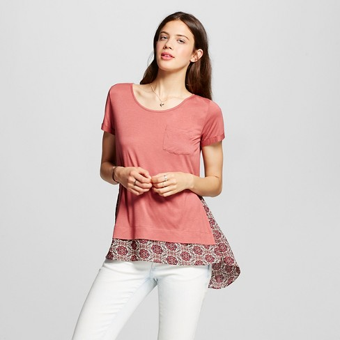 Women's Knit to Woven Hi-low T-Shirt Clay Rose L  - Xhilaration™ (Juniors') - image 1 of 2