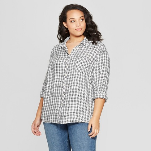 bf07038d7160c Women s Plus Size Plaid Long Sleeve Collared Shirt - Universal ...