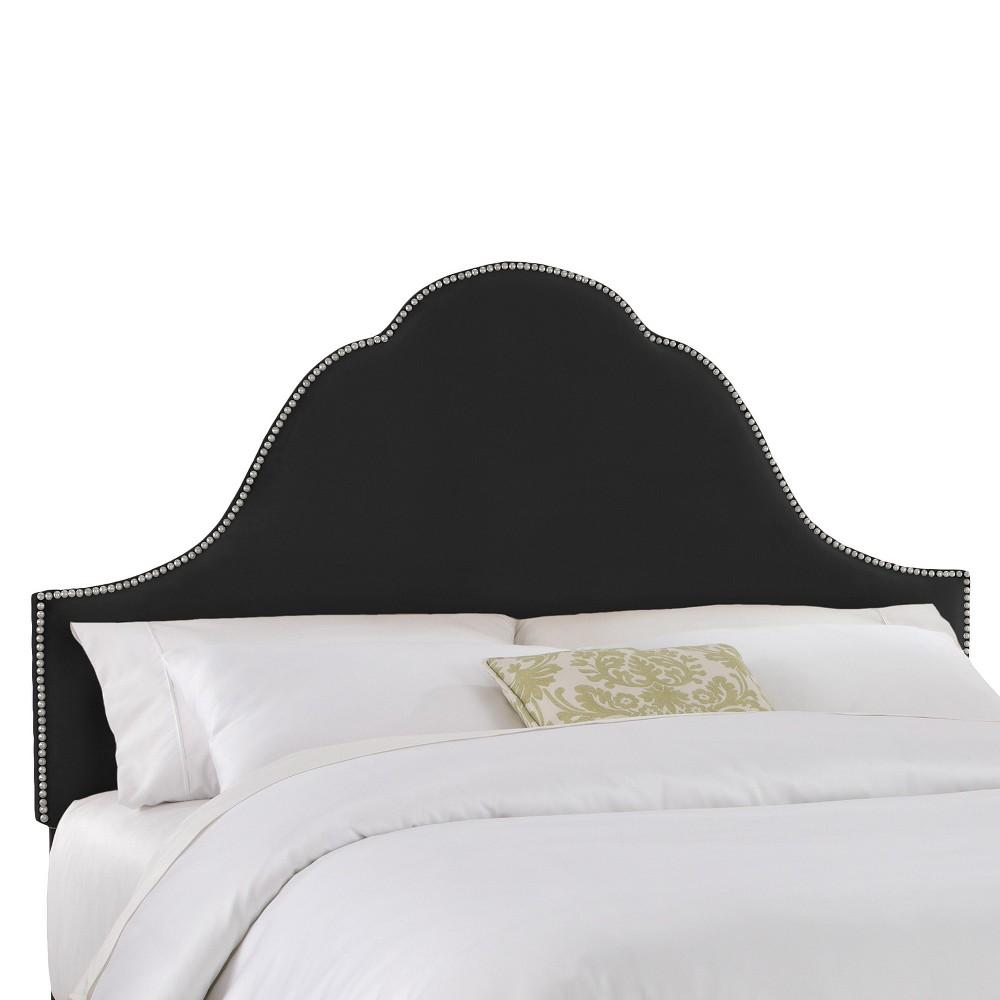 Skyline Furniture Avignon Luxe Velvet Headboard - Black (Cal King) - Skyline Furniture