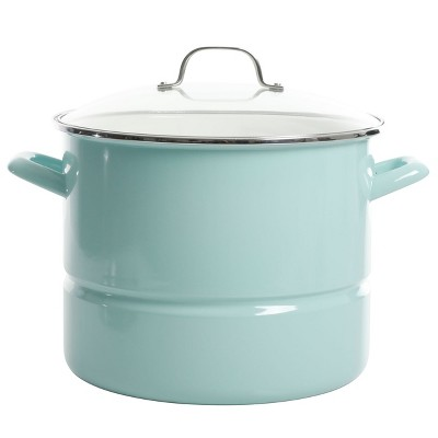 Kenmore 16 Quart Stainless Steel Pot in Blue with Steamer Insert and Glass Lid