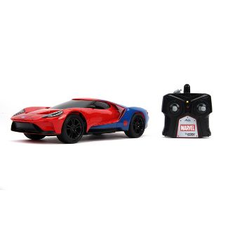Jada Toys Marvel Spider-Man RC 2017 Ford GT Remote Control Vehicle 1:16 Scale Glossy Red