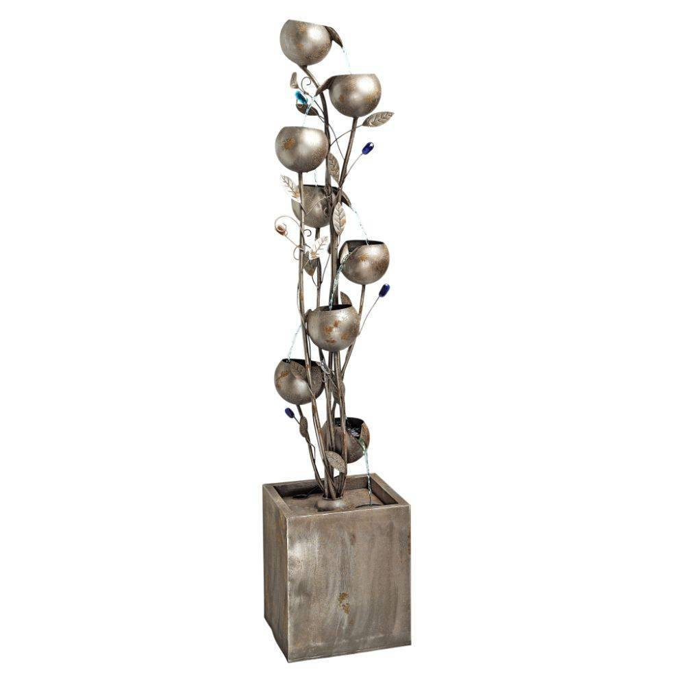 Image of Abstract Floral Cascding Metal Tower Fountain - Acorn Hollow