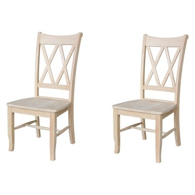 Set Of 2 Double X Back Chair Unfinished - International Concepts