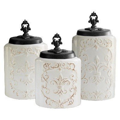American Atelier Antique Canisters Set of 3 - White