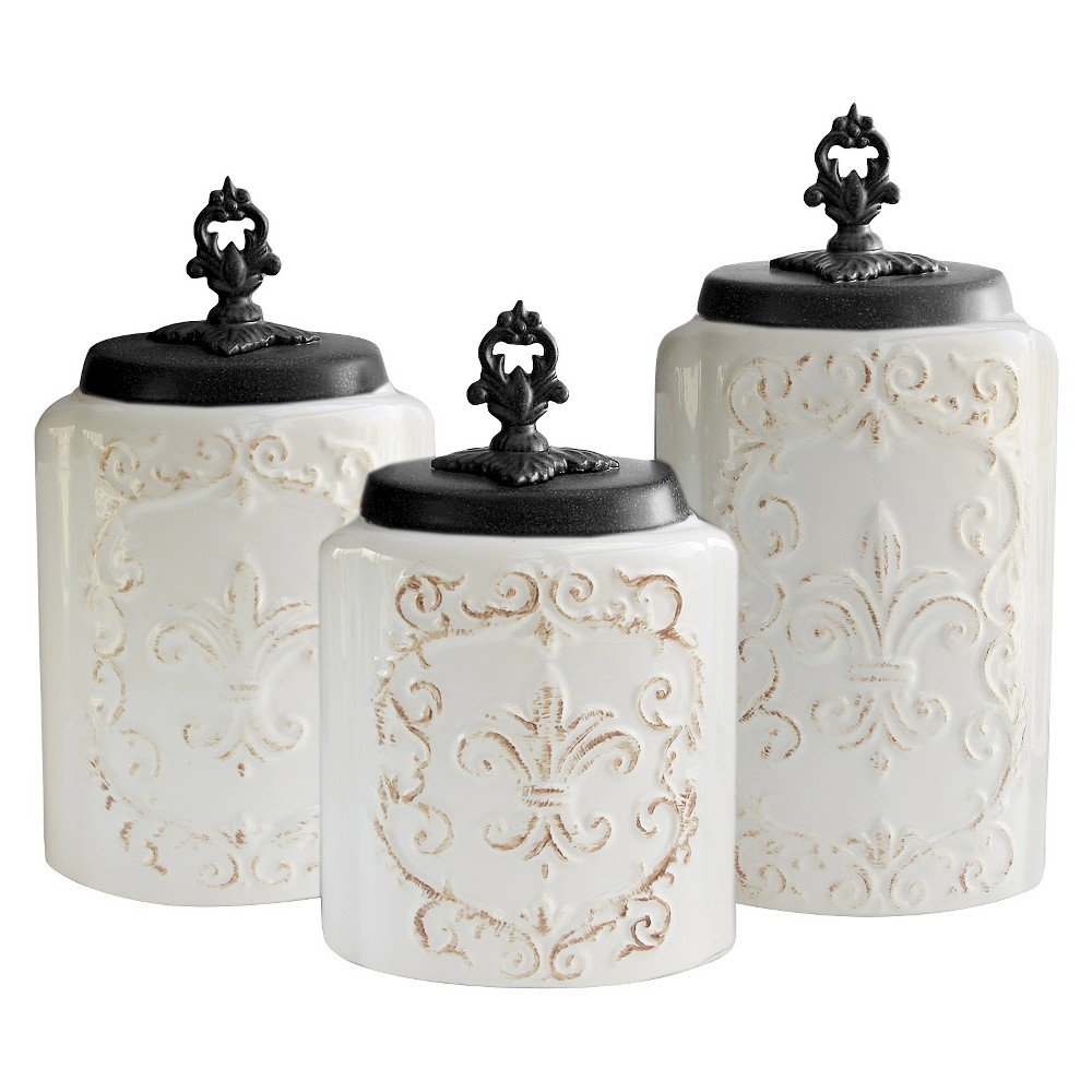 Image of American Atelier Antique Canisters Set of 3 - White
