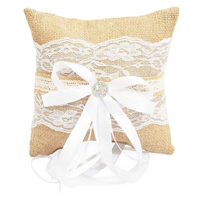 Sparkle and Bash Brown Burlap Lace Wedding Ring Bearer Pillow Hold for Wedding Engagement Ceremonies