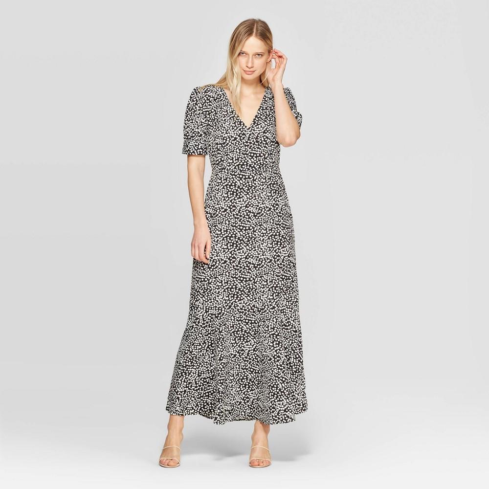 Women's Polka Dot 3/4 Sleeve V-Neck Maxi Dress - Who What Wear Black/White Xxl