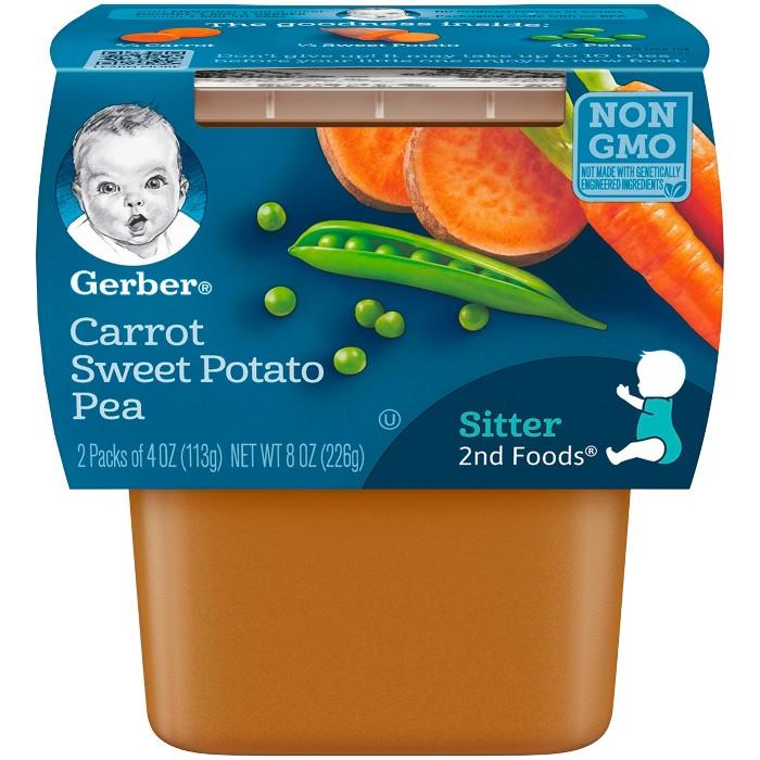 Gerber Baby 2nd Foods Carrot Sweet Potato Pea - 4oz/2ct - image 1 of 3