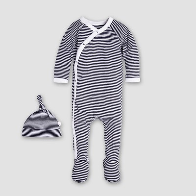 Burt's Bees Baby Organic Cotton Kimono Footed Coverall & Hat - Midnight 6-9M