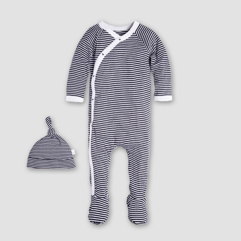 Burt's Bees Baby Organic Cotton Kimono Footed Coverall & Hat - Midnight - image 1 of 5