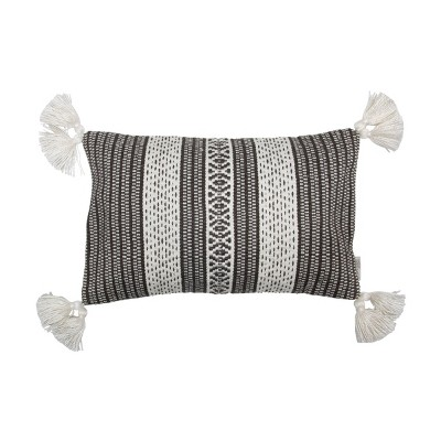 Black and White Hand Woven 14 x 22 inch Outdoor Decorative Throw Pillow Cover With Insert and Hand Tied Tassels - Foreside Home & Garden