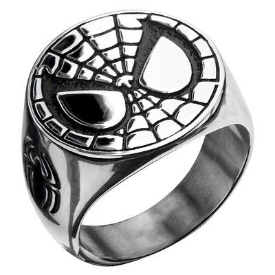 Men's Marvel® Spider-Man Stainless Steel Engraved Face Ring