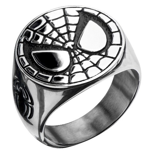 Men's Marvel® Spider-Man Stainless Steel Engraved Face Ring - image 1 of 2