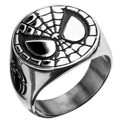 Men's Marvel® Spider-Man Stainless Steel Engraved Face Ring - image 1 of 2