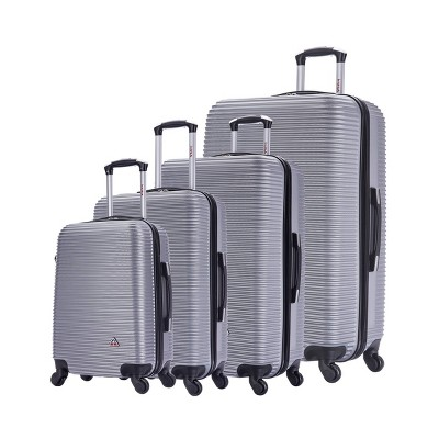 InUSA Royal Lightweight Hardside Spinner 4pc Luggage Set - Silver