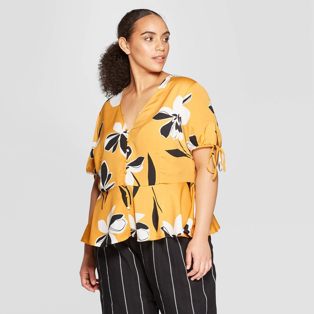 Women's Plus Size Floral Print Short Tie Sleeve Button Detail Peplum Top - Who What Wear Yellow 3X