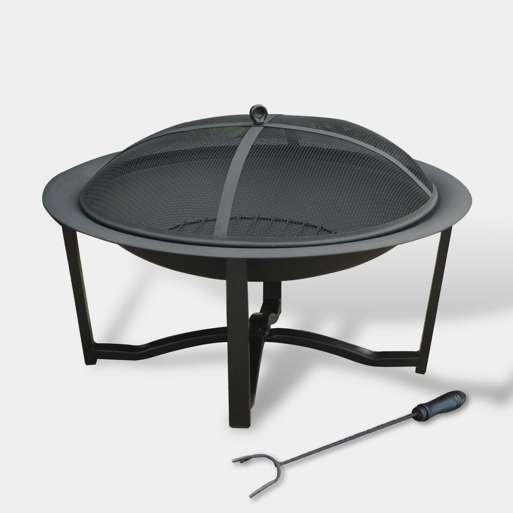 "Image of ""26"""" Contemporary Steel Fire Pit - Black - leisurelife"""