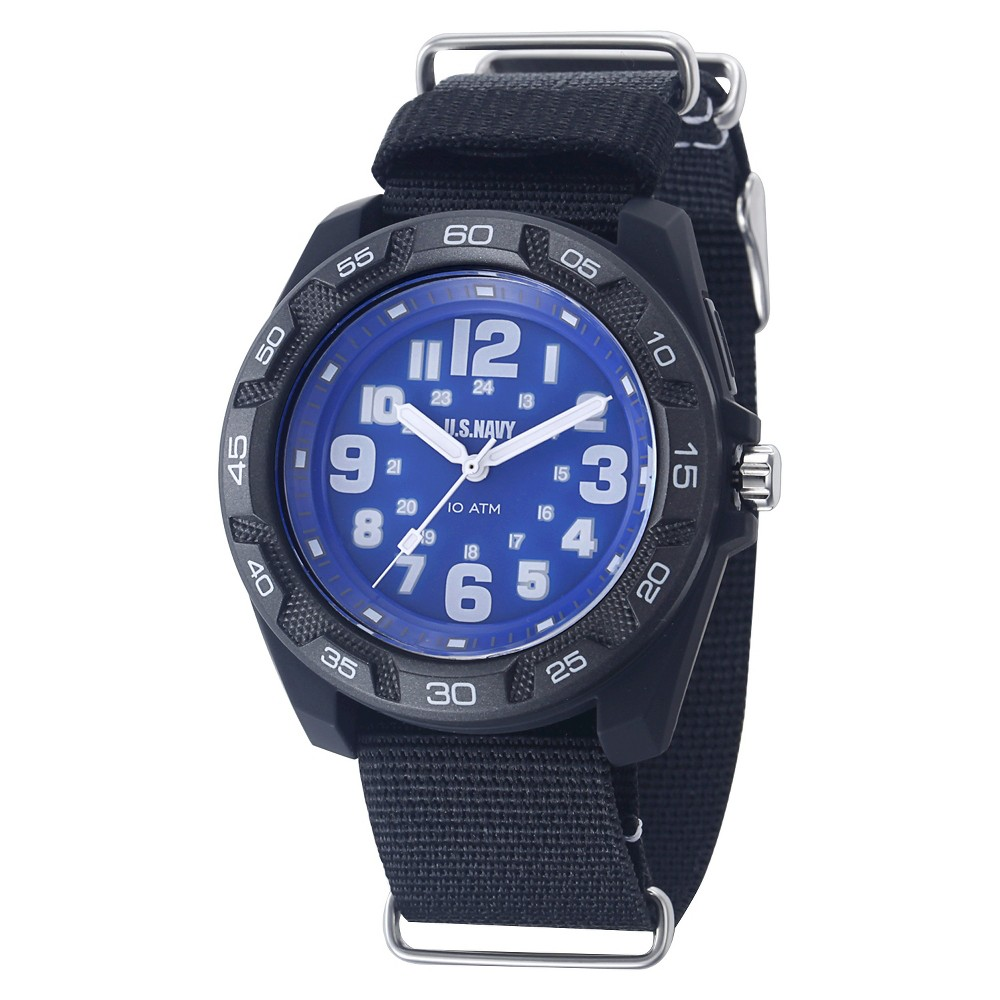 Men's U.S. Navy C42 Backlight Watch By Wrist Armor, Blue And White Dial, Black Nylon Strap, Size: Small