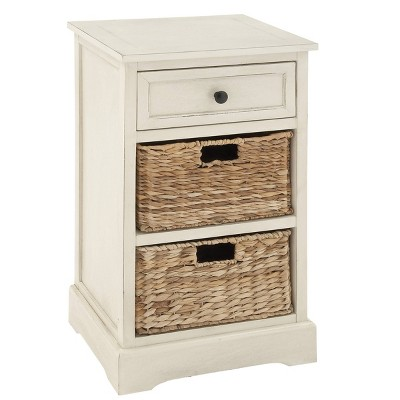 Farmhouse Wood and Wicker Basket Side Table White - Olivia & May