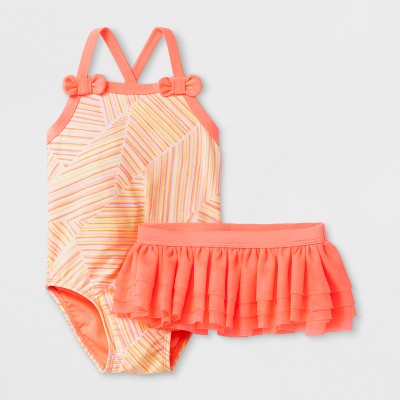 Baby Girls' Shapes One Piece Swimsuit Set - Cat & Jack™ Coral 9M