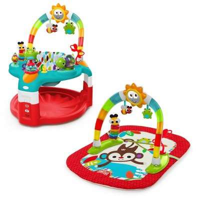 Bright Starts 2-in-1 Silly Sunburst Activity Gym & Saucer - Red
