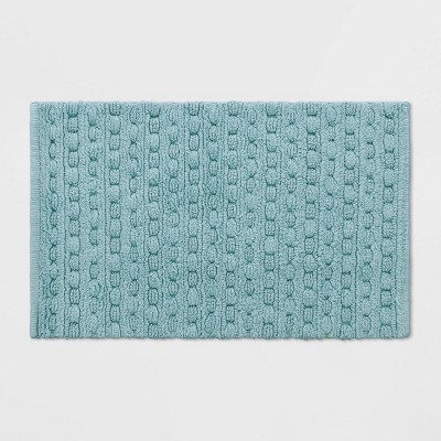 Woven Textured Aqua Bath Rug Aqua - Opalhouse™