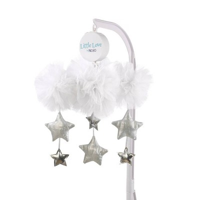 Little Love By NoJo Tulle Cloud with Silver Metallic Stars Nursery Crib Musical Mobile - White