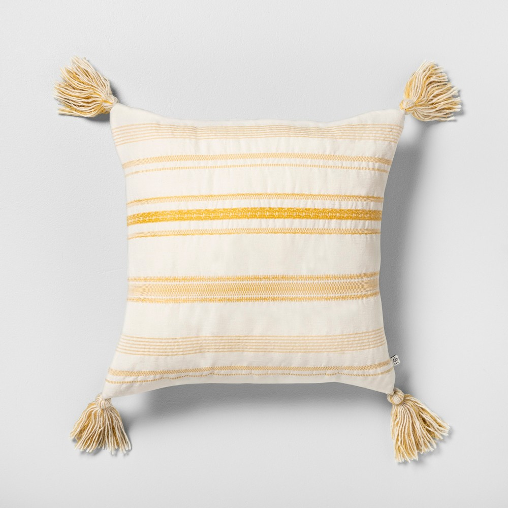 Striped Reversible Throw Pillow with Tassel Cream / Yellow - Hearth & Hand with Magnolia