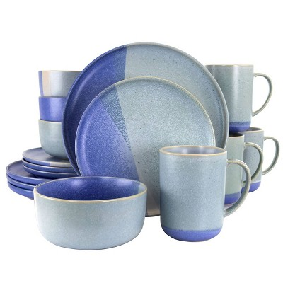 Gibson Elite 16pc Stoneware Convergence Dinnerware Set Blue