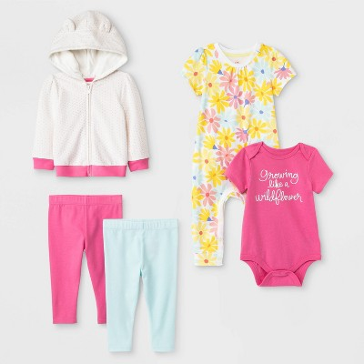Baby Girls' Top & Bottom Sets - Cat & Jack™ Pink/White/Yellow 0-3M