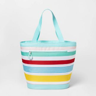 12 Can Tote Cooler Variegated Stripe - Sun Squad™